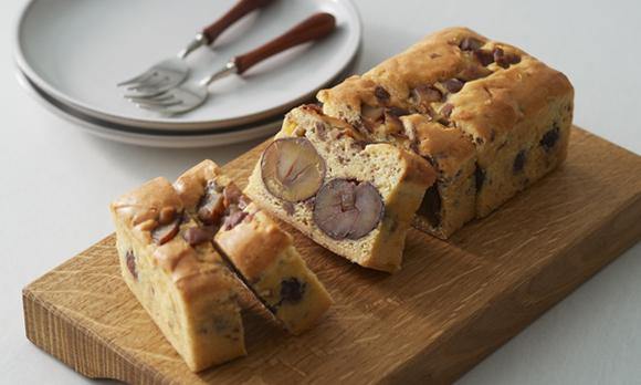和栗と発酵バターを贅沢に使った、秋冬限定のパウンドケーキ