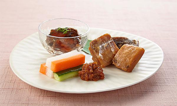 会津郷土料理 三種盛 ・会津ネギ味噌・にしんの山椒漬け・棒タラ甘露煮の内容画像