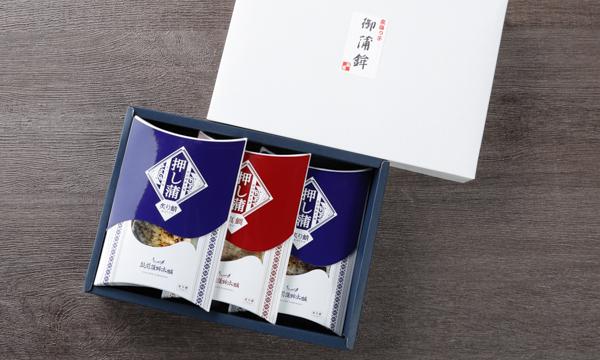 押し蒲 三本セット(炙り鯖×2・天然真鯛×1)の箱画像