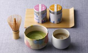 オリジナル有機抹茶有機ほうじ茶 茶筅 風呂敷セット